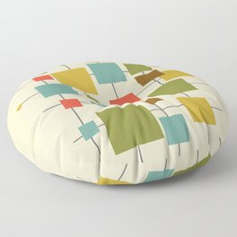Mid-Century Modern Geometric Abstract Squares - Multi-colour Floor Pillow