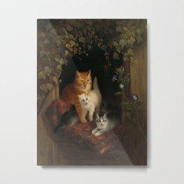 Henriëtte Ronner - Cat with kittens (1844) Metal Print