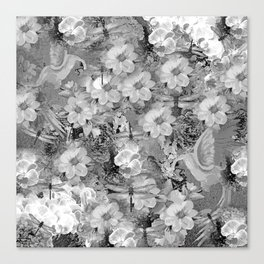 PARROTS MAGNOLIAS ROSES AND HYDRANGEAS TOILE PATTERN IN GRAY AND WHITE Canvas Print