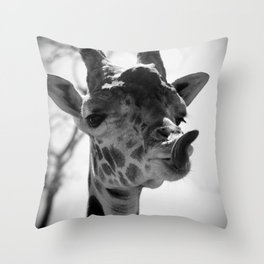 Giraffe Sticks Out Tongue Nature Photography Throw Pillow