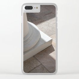Column base and stone tile floor Clear iPhone Case