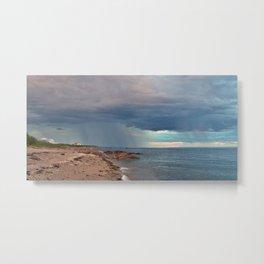 Rain Curtain on the Sea Metal Print