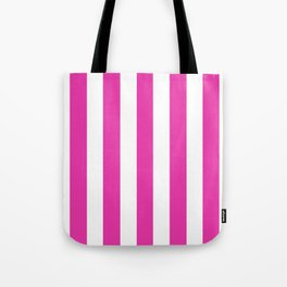 Frostbite fuchsia - solid color - white vertical lines pattern Tote Bag