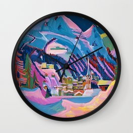 Davos, Swiss Alps in Winter Mountain Landscape by Ernst Ludwig Kirchner Wall Clock