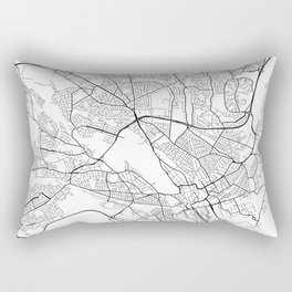 Cardiff Map, Wales - Black and White Rectangular Pillow