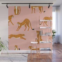 Cheetahs pattern on pink Wall Mural