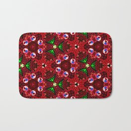 Beautiful Red and Green Beaded Pattern Bath Mat