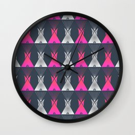 Pink Grey Native American Tipi Wall Clock