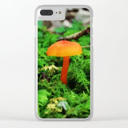 Single Mushroom Surrounded by Moss Clear iPhone Case