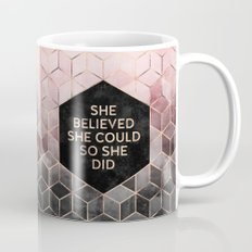 She Believed She Could - Grey Pink Mug