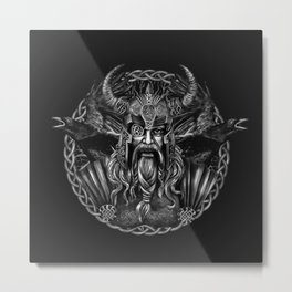 Odin and his ravens Huginn and Muninn Metal Print