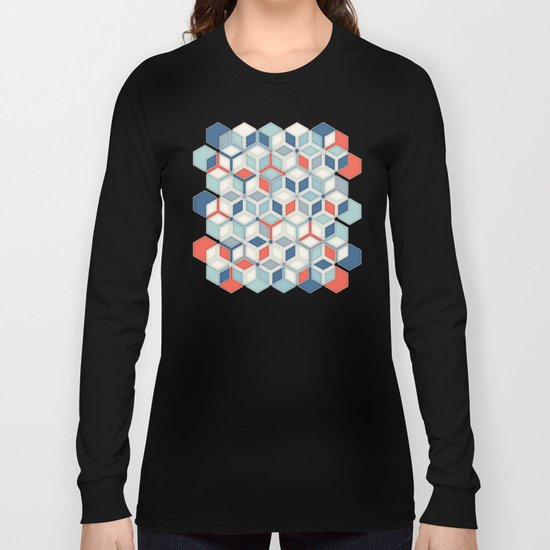 Soft Red, White & Blue Hexagon Pattern Play Long Sleeve T-shirt