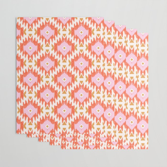 Orange Boho Ikat Pattern Wrapping Paper