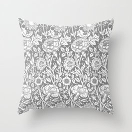 "William Morris Floral Pattern | ""Pink and Rose"" in Grey and White Throw Pillow"