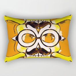 yellow old vintage skull and bone graffiti drawing with orange background Rectangular Pillow