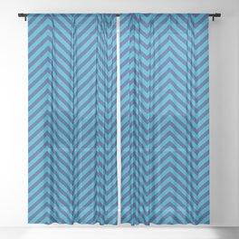 Bondi Blue on Blue Chevron Wave Pattern Sheer Curtain