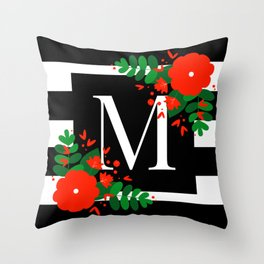 M - Monogram Black and White with Red Flowers Throw Pillow