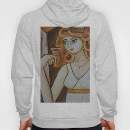 Portrait of a burlesque girl with mug brown painting by Ksavera Hoody