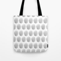polkadot Tote Bags featuring Watercolour polkadot grey by Mouseblossom