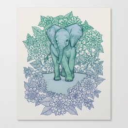 Emerald Elephant in the Lilac Evening Canvas Print