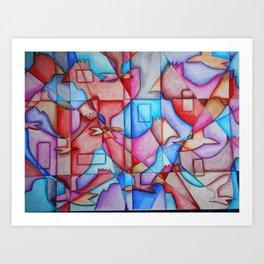 Cubist Chickens Art Print