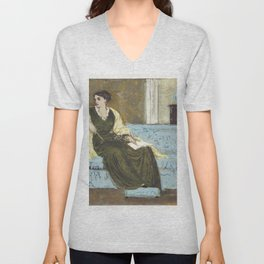 Woman Seated on a Sofa (1865-1915) by Walter Crane Unisex V-Neck