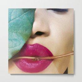 Green Leaf Lip Lady Metal Print