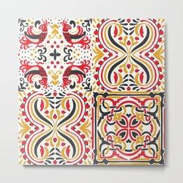 Boho style folklore pattern Metal Print