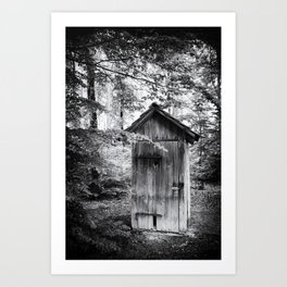Outhouse in the forest Art Print
