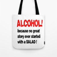 alcohol Tote Bags featuring alcohol by Sava Miskovsky