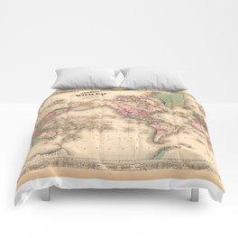 1861 World Map - Johnson's World on Mercators Projection Comforters