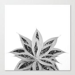 Gray Agave with Black Silver Glitter #1 #shiny #tropical #decor #art #society6 Canvas Print