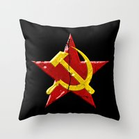 soviet Throw Pillows featuring Soviet symbol by Emma Harckham