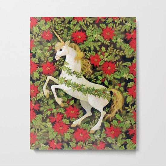 Christmas Unicorn Metal Print