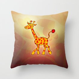 Happy Giraffe Spotted with Hearts Throw Pillow