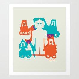 Friendlier Robots Art Print