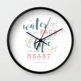 """Life Reflects the Heart"" Bible Verse Print Wall Clock"