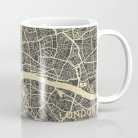london map Mugs featuring London map by Map Map Maps