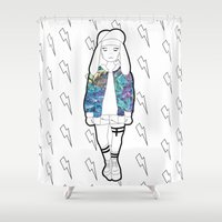 holographic Shower Curtains featuring Bunny Belle / Holographic by Millicent A Venton