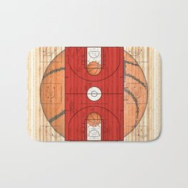 Red Basketball Court with Basketballs Bath Mat