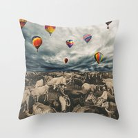 balloons Throw Pillows featuring Balloons by Mrs Araneae