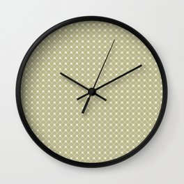 Cream on Earthy Green Parable to 2020 Color of the Year Back to Nature Polka Dot Grid Pattern Wall Clock