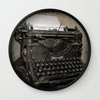 typewriter Wall Clocks featuring typewriter by planejane