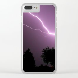 Purple Lightning Night Sky Clear iPhone Case