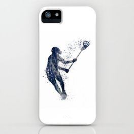 Girl Lacrosse Navy Blue Colorful Watercolor Sports Art iPhone Case