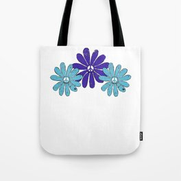 Hippie Peace Sign Flower Power Purple Aqua Distressed Look Tote Bag