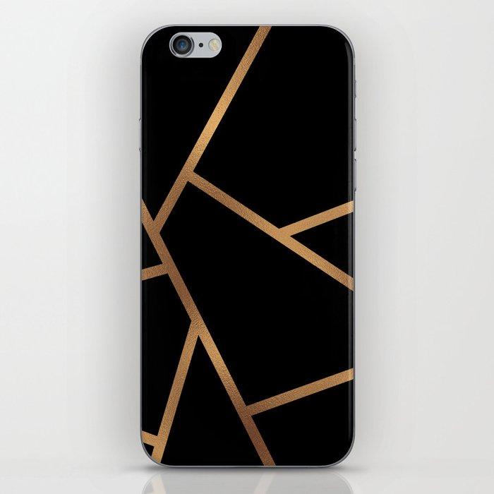 Black and Gold Fragments - Geometric Design iPhone Skin