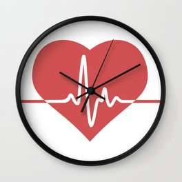 Heart with Cardiogram Wall Clock