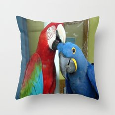 Photo of red and blue macaws Throw Pillow