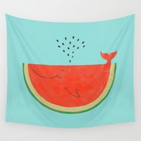 ilovedoodle Wall Tapestries featuring Don't let the seed stop you from enjoying the watermelon by I Love Doodle